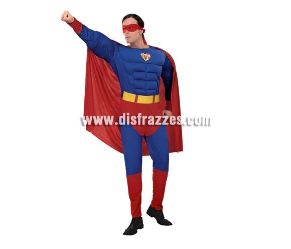 Disfraz barato de Héroe Musculoso adulto. Talla standar M-L = 52/54. Incluye mono con relleno imitando músculos, cinturón, antifaz y capa. Para disfrazarte e ir igual que el mismísimo Superman.