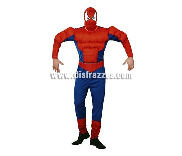 Disfraz de Araña Musculosa adulto barato para Carnaval. Talla Standar M-L = 52/54. Incluye mono con relleno imitando músculos, cinturón y capucha. Para jugar a ser Spiderman, el hombre araña.