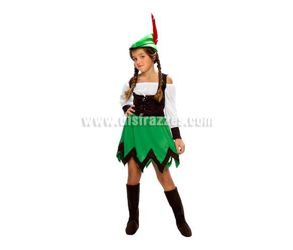 Disfraz de Robin Hood niña económico talla de 5 a 6 años. Incluye sombrero, camisa, chaleco, falda y cubrebotas. Espada NO incluida, podrás verla en la sección de Complementos.