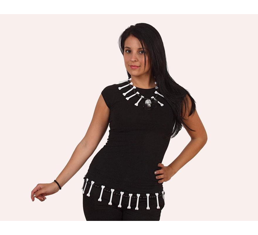 Conjunto collar y cinturón de Huesos Indio. El complemento ideal para tu disfraz de Troglodita o Cavernícola. También como complemento de tu disfraz de Halloween.