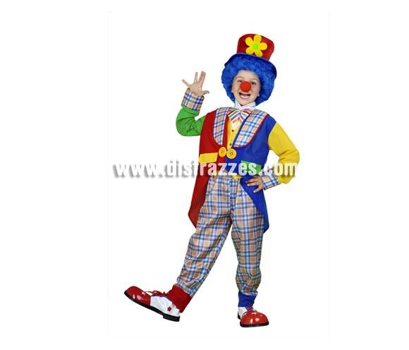 Disfraz de Payaso abrigo infantil barato para Carnaval.  Talla de 5 a 6 años. Incluye sombrero, chaqueta, pechera con lazo y pantalón. Peluca y zapatones NO incluidos, podrás verlos en las secciones de Complementos y de Pelucas.