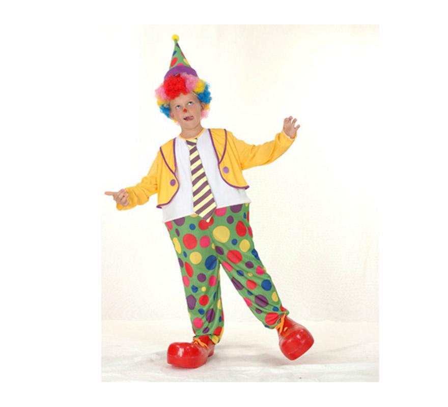 Disfraz de Payaso Aro niño económico talla de 4 a 6 años. Incluye sombrero y mono con aro y corbata. Peluca y zapatones NO incluidos, podrás verlos en la sección de Complementos.