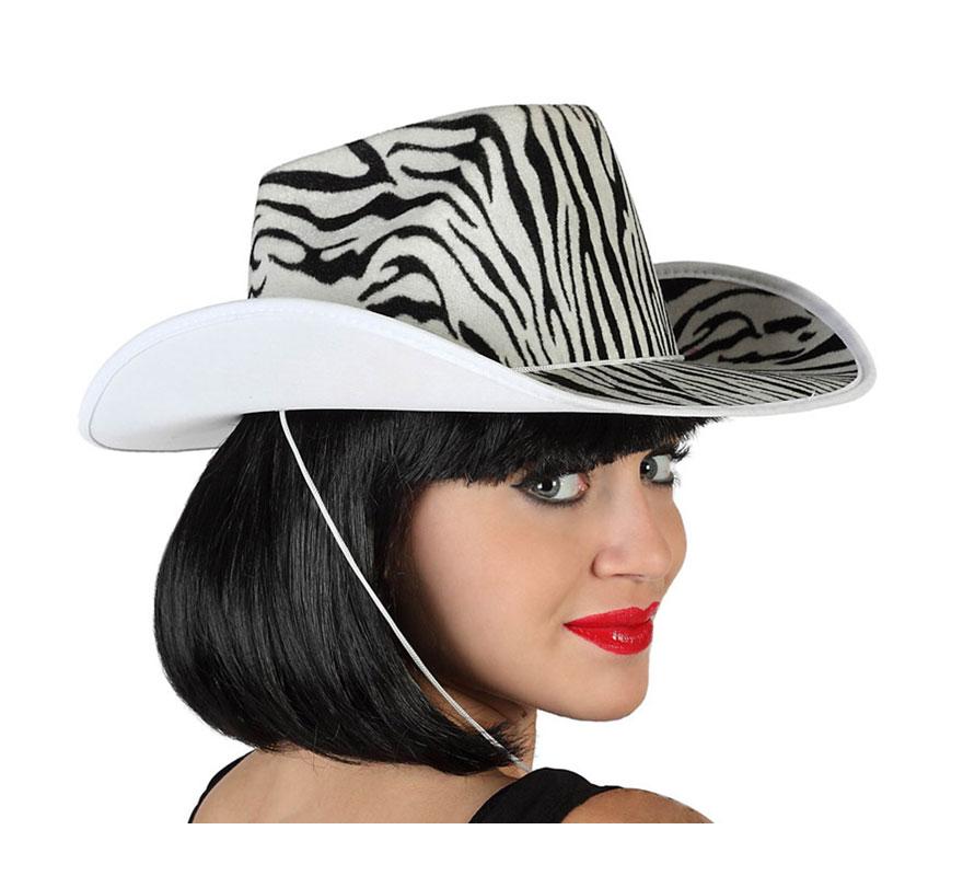 Sombrero Cowboy blanco y negro. Gorro de Pistolero o Vaquero cebra. Perfecto para Despedidas de Solteros.
