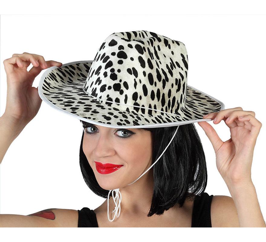 Sombrero Cowboy blanco y negro. Gorro de Pistolero o Vaquero vaca. Perfecto para Despedidas de Solteros.