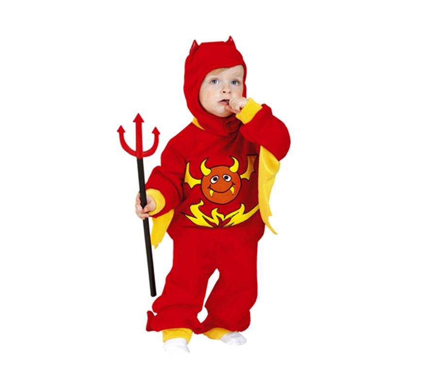Disfraz de Demonio o Diablo Bebé super barato para Halloween. Talla de 1 a 2 años. Incluye mono con rabo y capucha. Tridente NO incluido, podrás verlo en la sección Complementos de Halloween.
