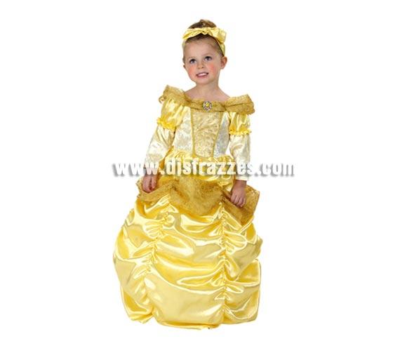 Disfraz de Princesa Bella Económico para niñas de 1 a 2 años. Incluye vestido y tocado.