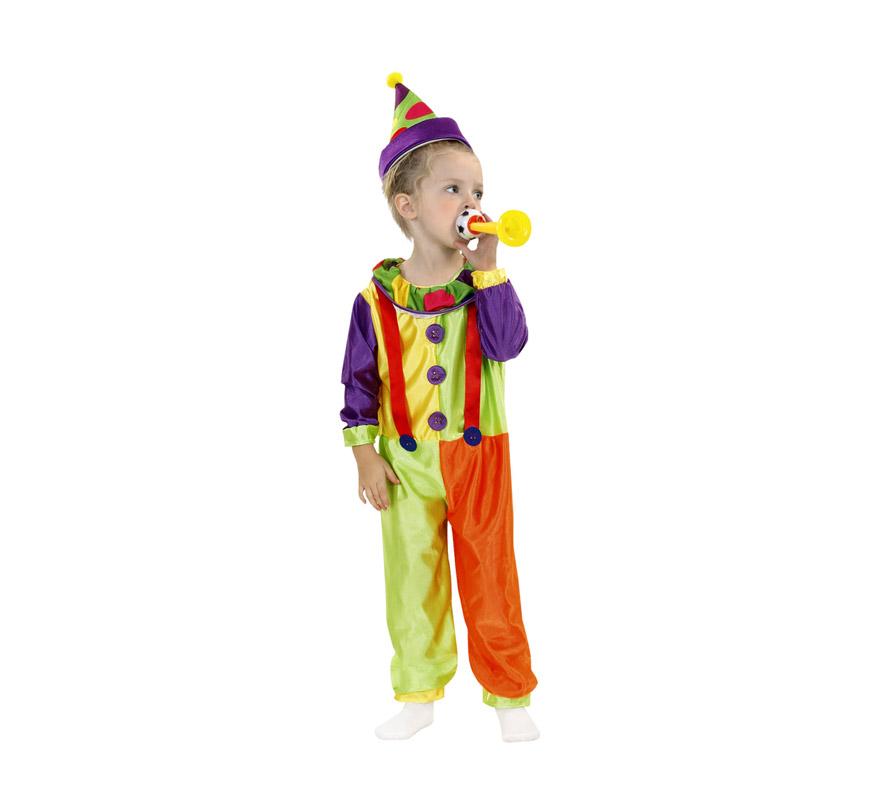 Disfraz de Payasete para niños de 1-2 años. Incluye mono y sombrero.