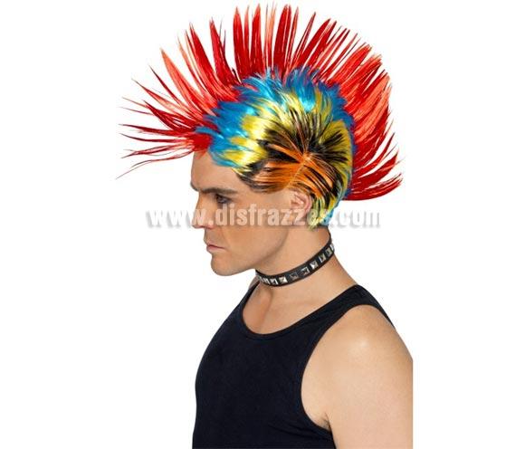 Peluca Punky con cresta multicolor de los años 80