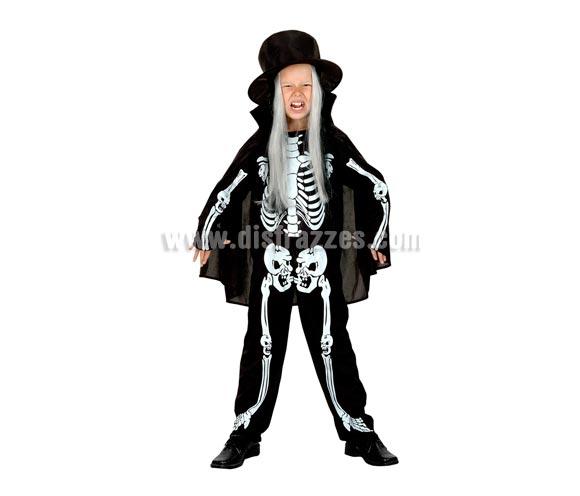 Disfraz de Eskeleton económico para niños de talla de 10 a 12 años. Incluye sombrero, mono y capa. Disfraz de Esqueleto para niño.