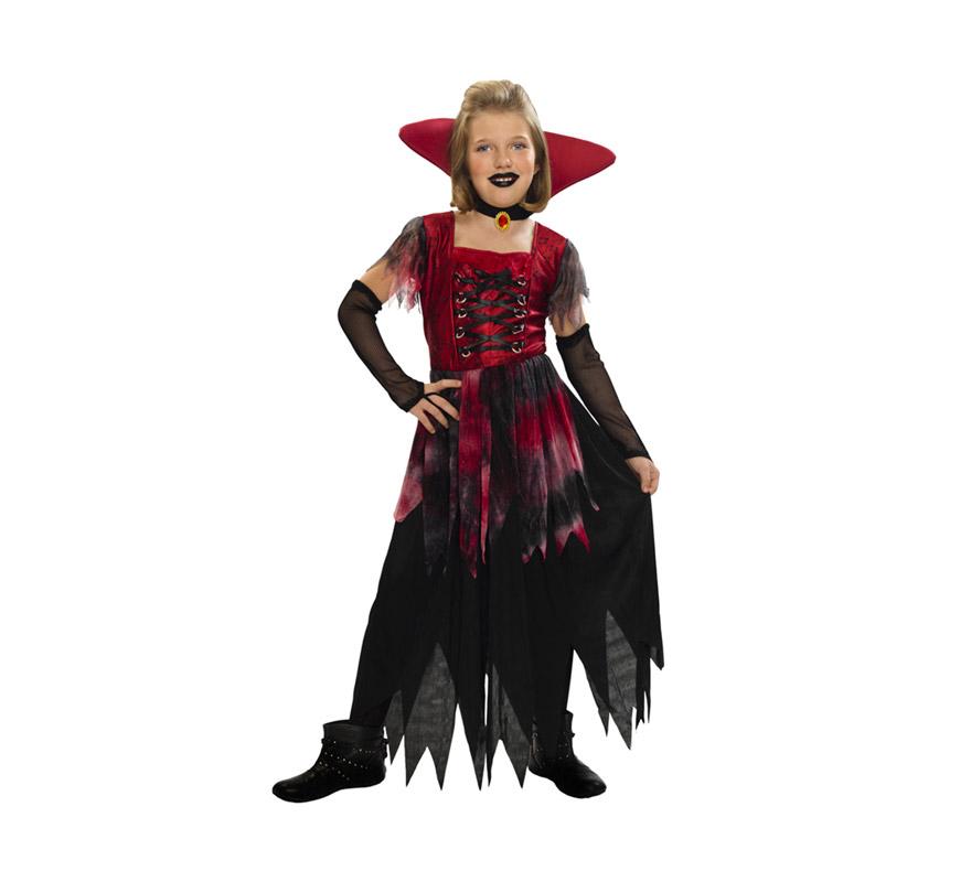 Disfraz de Vampiresa Gótica barato para Halloween. Talla de 10 a 12 años. Incluye vestido, cuello y guantes.