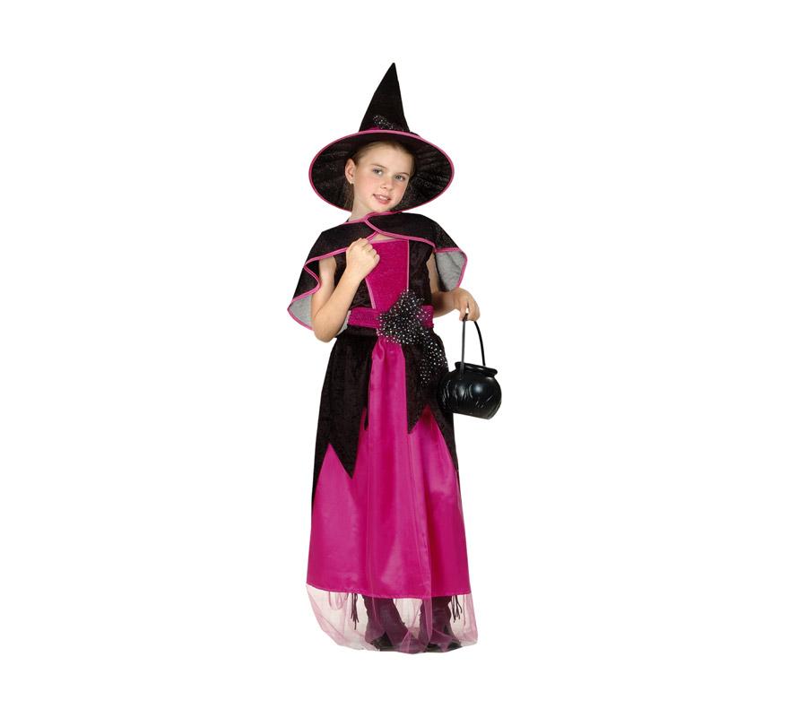 Disfraz de Bruja Bonita económico talla de 10 a 12 años. Incluye vestido, cinturón, capita y sombrero. Olla NO incluida, podrás verla en la sección de Complementos.