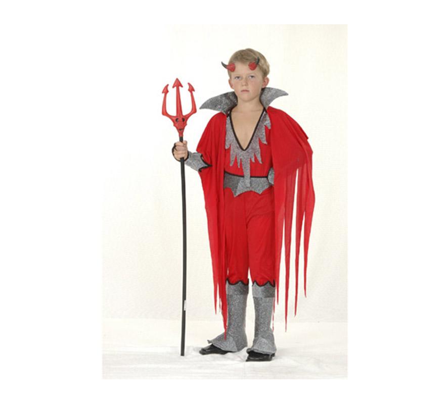 Disfraz de Diablo o Demonio económico talla de 7 a 9 años. Incluye mono con cubrebotas, capa con cuello, cuernos y brazalete. Tridente NO incluido.