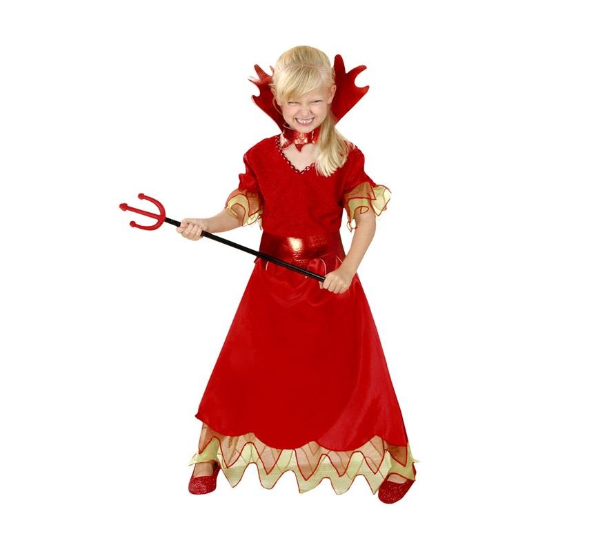 Disfraz de Diablesa infantil barato para Halloween. Talla de 7 a 9 años. Incluye vestido, cinturón y cuello. Tridente NO incluido, podrás verlo en la sección Complementos.