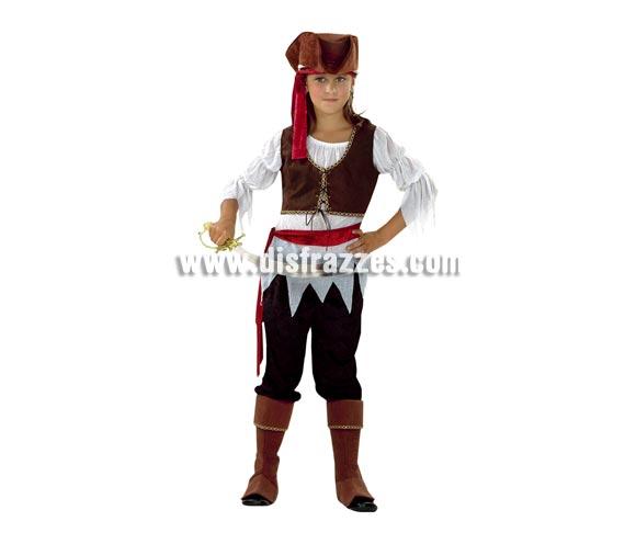 Disfraz barato de Pirata Niña para Carnavales. Talla de 10 a 12 años. Incluye camisa, chaleco, pantalón, cubrebotas, sombrero, cinturón y cinta para el cabello. Espada NO incluida, podrás verla en la sección de Complementos.