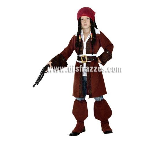 Disfraz barato de Pirata Caribeño infantil para Carnavales. Talla de 7 a 9 años. Incluye chaqueta, cinturón, fajín, pañuelo y cubrebotas. Arcabuz y peluca NO incluidos, podrás verlo en la sección de Complementos y en la de Pelucas.