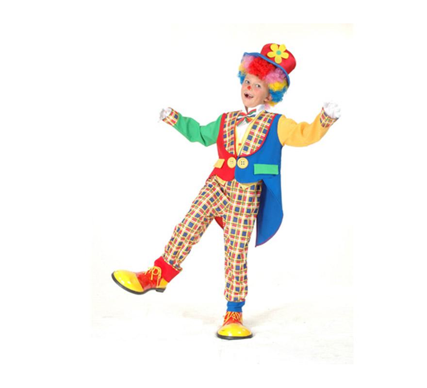 Disfraz de Payaso abrigo Económico talla de 10 a 12 años. Incluye sombrero, chaqueta, pechera con lazo y pantalón. Peluca y zapatones NO incluidos, podrás verlos en las secciones de Complementos y de Pelucas.