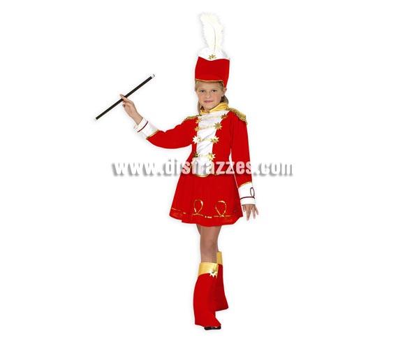 Disfraz barato de Majorette infantil para Carnavales. Talla de 7 a 9 años.  Incluye sombrero, camisa, falda y cubrebotas. Varita NO incluida.
