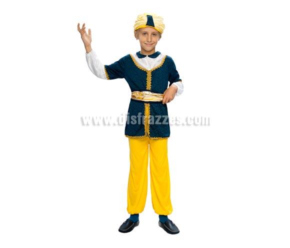 Disfraz de Paje Real o Sultán infantil para Carnaval o para Navidad barato. Talla de 7 a 9 años. Incluye pantalón, casaca, cinturón y turbante. Disfraz de Paje para niño en Navidad y Reyes Magos.