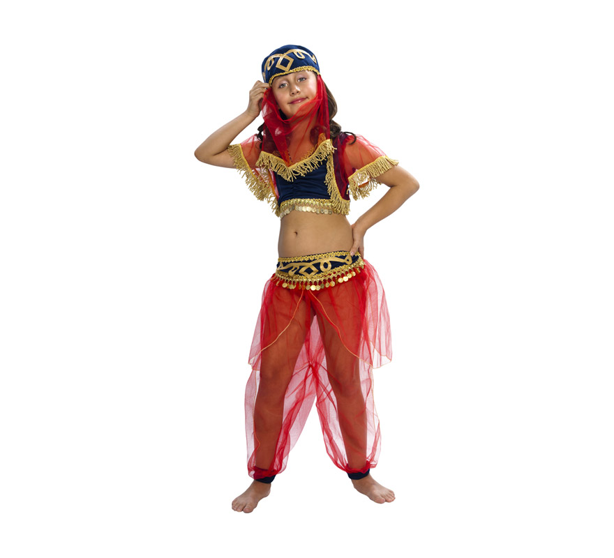 Disfraz Disfraz de Bailarina Árabe 7-9 años para niñade Bailarina Árabe infantil. Talla de 7 a 9 años. Incluye tocado, top y pantalón. Disfraz de Bailarina del Harén para niñas. Disfraz de Mora niña que puede servir también como disfraz de Paje Real de los Reyes Magos en Navidad.
