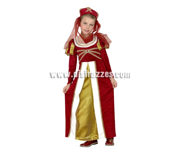 Disfraz de Princesa Real Talla de 10 a 12 años. Incluye vestido y tocado. Disfraz de Princesa Real Medieval.