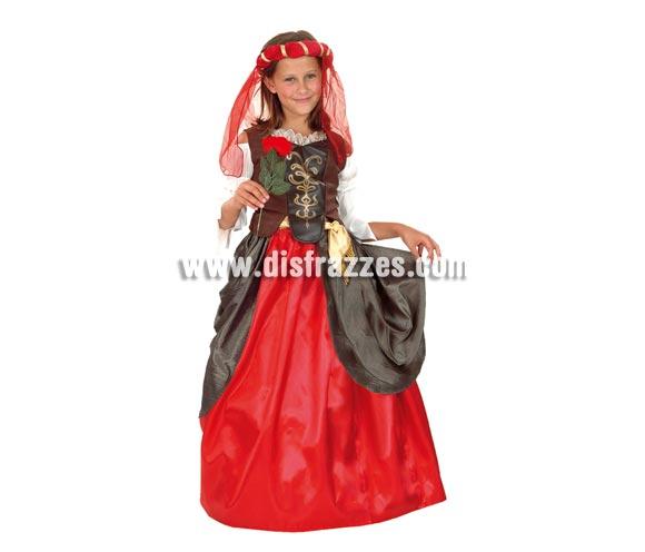 Disfraz de Dama del Renacimiento talla de 7 a 9 años. Incluye tocado, blusa con corpiño, falda y cinturón. Flor NO incluida.