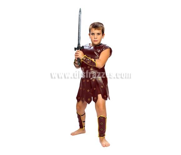 Disfraz de Guerrero niño barato para Carnaval. Talla de 7 a 9 años. Incluye toga, armadura, protector de brazos y protector de las piernas. Espada NO incluida, podrás verla en la sección Complementos. Disfraz de Gladiador Romano para niño.