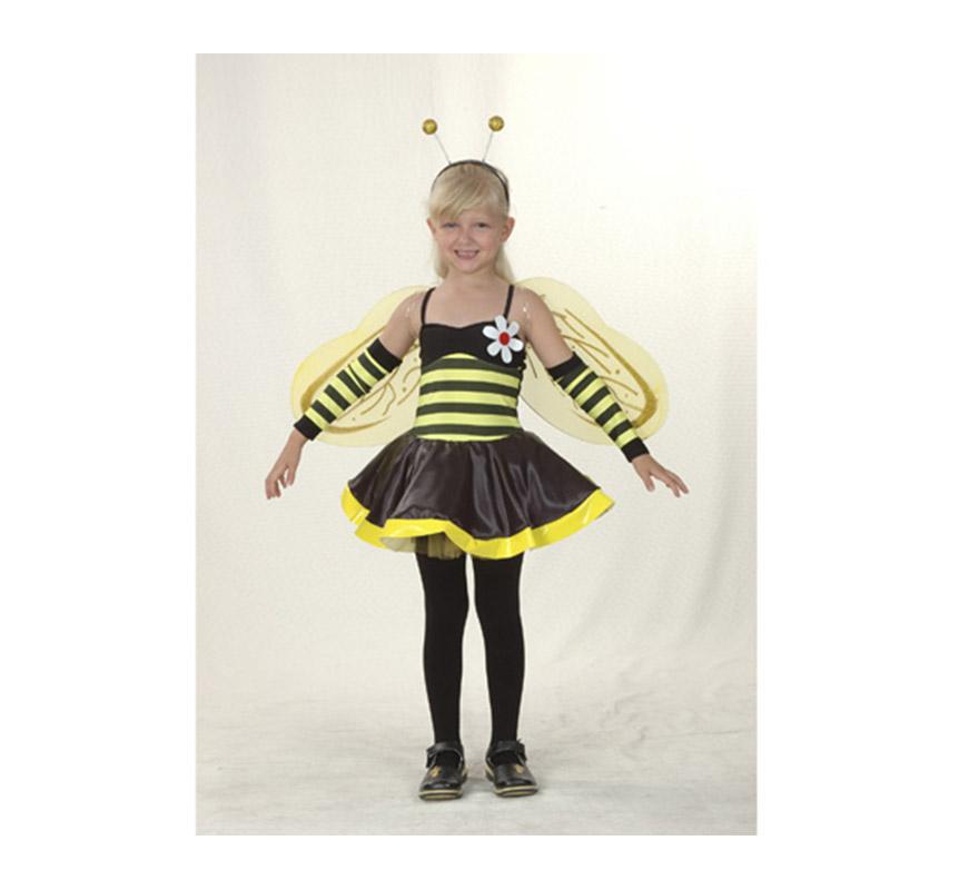 Disfraz de Hada Avispa Económico talla de 7 a 9 años. Incluye vestido, alas, tocado y manguitos. También disfraz de Abeja o Abejita.