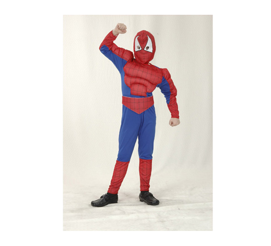 Disfraz de Insecto Musculoso infantil barato para Carnaval. Talla de 7 a 9 años. Incluye mono con relleno imitando músculos, cinturón y capucha. Para jugar a ser Spiderman.