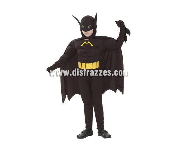 Disfraz de Murciélago Musculoso niño. Talla de 7 a 9 años. Incluye traje completo con capa y máscara. Para jugar a ser Batman.
