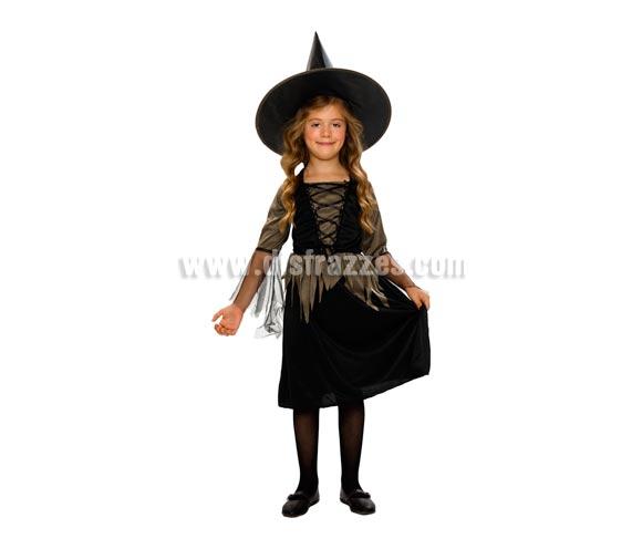 Disfraz de Bruja barato talla de 10 a 12 años. Incluye sombrero y vestido. Escoba NO incluida,podrás verla en la sección de Complementos.