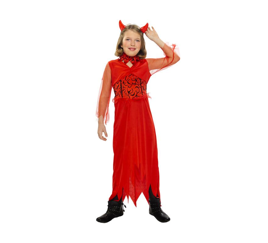 Disfraz de Diablesa barato para Halloween. Talla de 10 a 12 años. Incluye vestido, cuello y tocado. Tridente NO incluido, podrás verlo en la sección de Complementos.