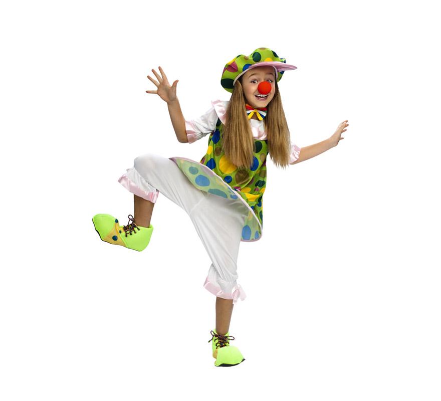Disfraz de Payasa Aro barato para Carnaval. Talla de 7 a 9 años . Incluye sombrero, camisa con aro y pantalón. Zapatones y calcetines NO incluidos, podrás verlos en la sección de Accesorios.
