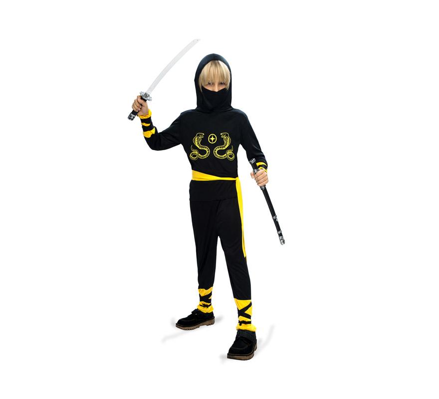 Disfraz de Ninja Cobra infantil barato para Carnaval. Talla de 7 a 9 años. Incluye camisa, pantalón, máscara, cinturón, muñequeras y espinilleras.