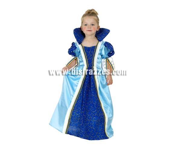 Disfraz de Princesa azul infantil barato para Carnaval. Talla de 3 a 4 años. Incluye vestido y cuello. Éste traje también es ideal para Ferias Medievales.