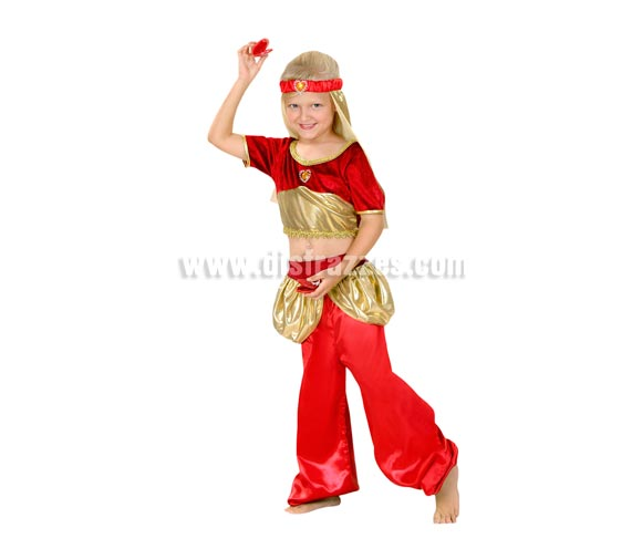 Disfraz de Aladina infantil para Carnavales. Talla de 5 a 6 años. Disfraz de Bailarina Árabe, Danza del vientre. También puede servir como disfraz de Paje Real para teatros de Colegios en Navidad y Reyes Magos. Incluye tocado, top y pantalón.