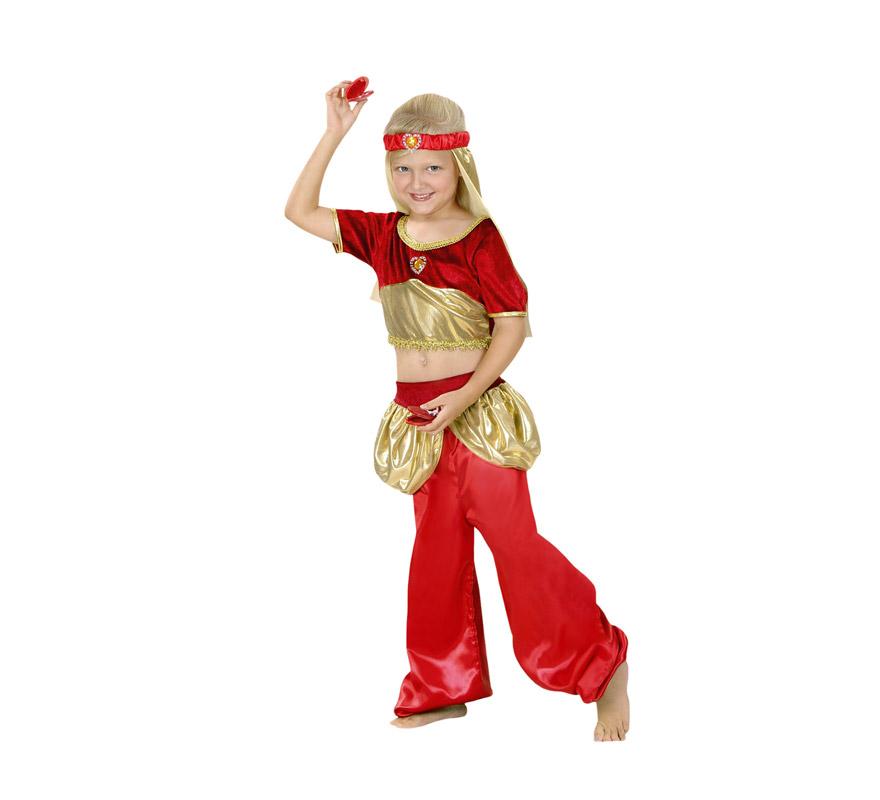 Disfraz de Aladina infantil para Carnavales. Talla de 7 a 9 años. Disfraz de Bailarina Árabe, Danza del vientre. También puede servir como disfraz de Paje Real para teatros de Colegios en Navidad y Reyes Magos. Incluye tocado, top y pantalón.