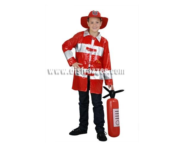 Disfraz de Bombero para niños de 10-12 años. Incluye sombrero y chaquetón.