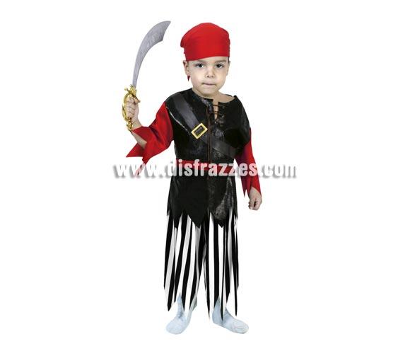 Disfraz de Pirata niño barato para Carnaval. Talla de 3 a 4 años. Incluye camisa, cinturón y pantalones. Espada NO incluida, podrás verla en la sección de Complementos.