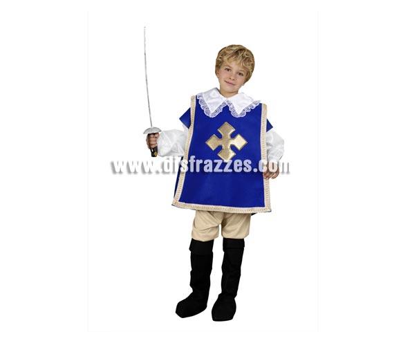 Disfraz barato de Mosquetero para niños de 5 a 6 años. Incluye camisa, pantalón, cubrebotas y peto. Perfecto para disfrazarse de D'Artagnan.