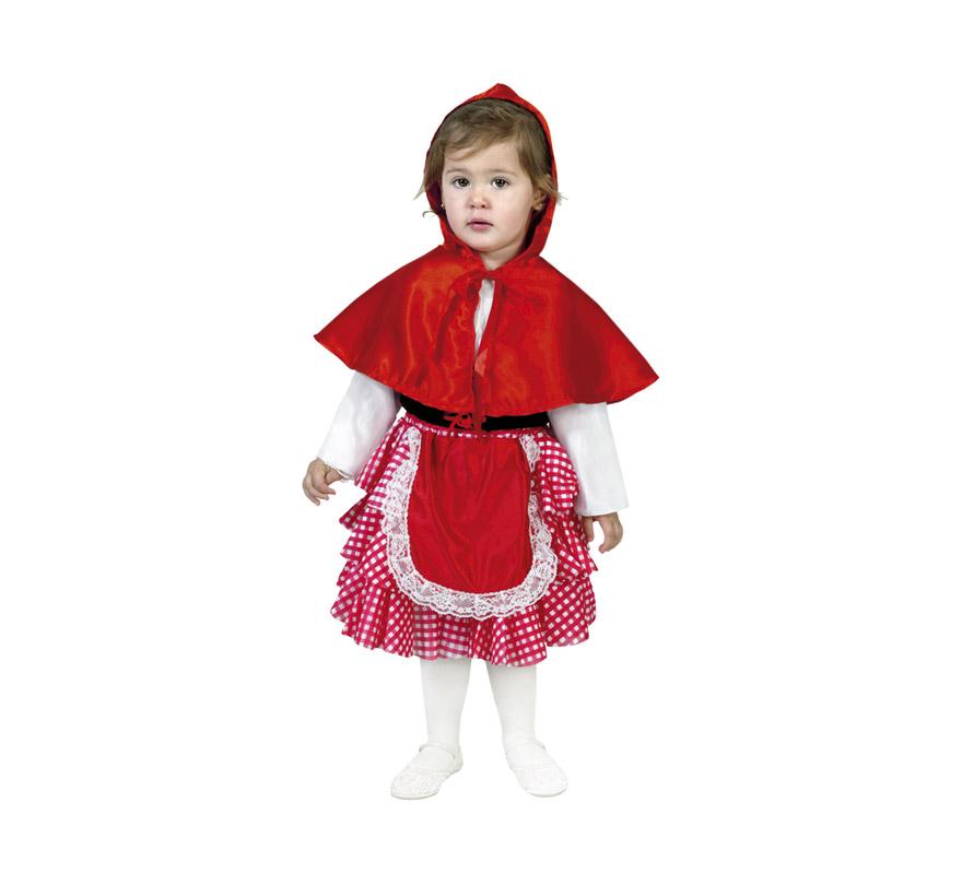 Disfraz de Caperucita Roja infantil para niñas de 1 a 2 años. Incluye caperuza y vestido-delantal. Medias o leotardos NO incluidos