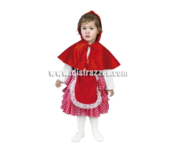 Disfraz de Caperucita Roja infantil para Carnaval. Talla de 3 a 4 años. Incluye caperuza y vestido-delantal. Medias o leotardos NO incluidos.