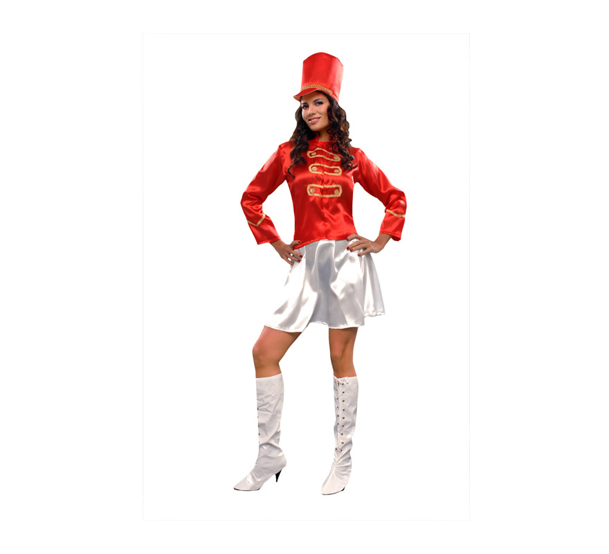 Disfraz de Majorette rojo para mujer. Talla Standar M-L 38/42. Incluye sombrero, chaqueta y falda. Bastón NO incluido.
