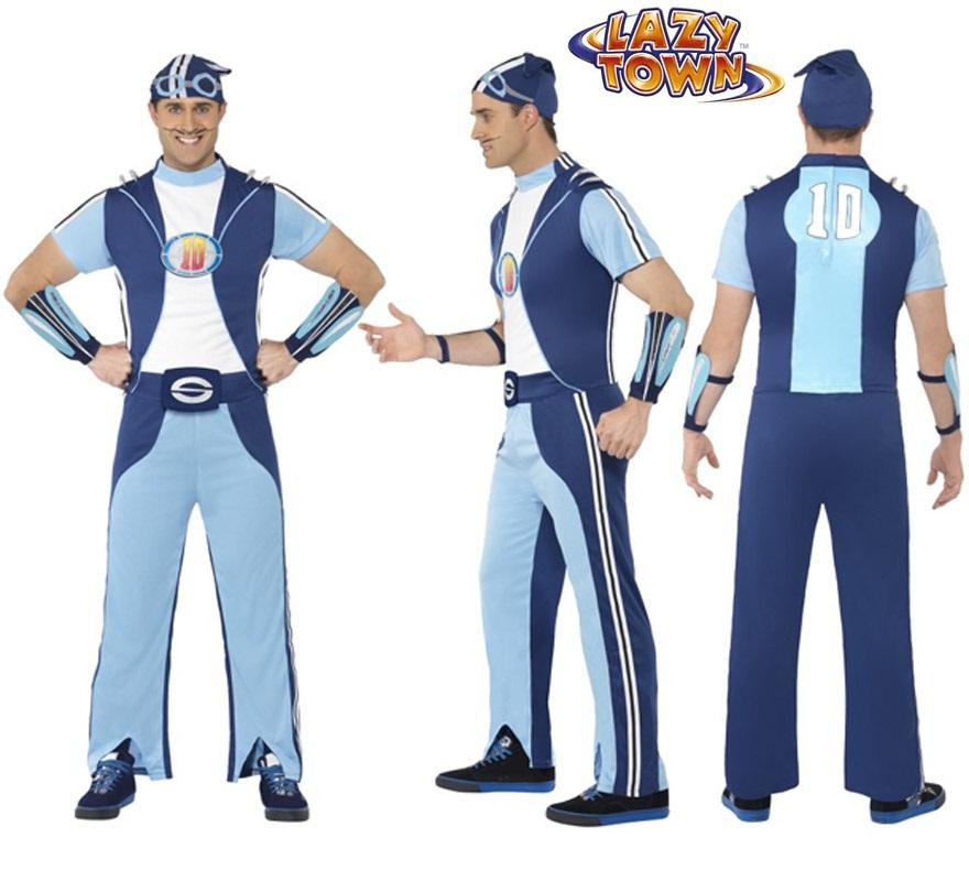 Disfraz de Sportacus de Lazy Town para hombre talla M. Incluye camiseta, pantalón, sombrero redondo y muñequeras.