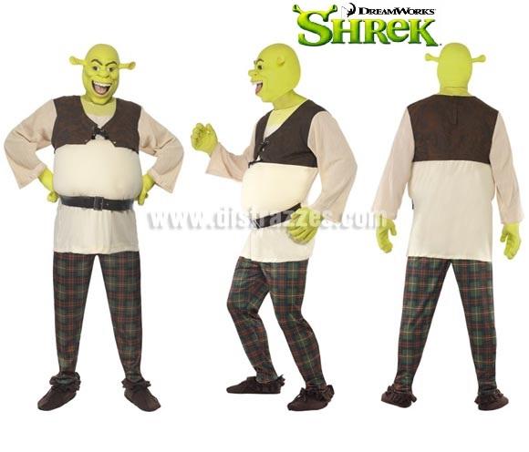 Disfraz de Shrek para hombre talla L. Incluye camisa, pantalón, manos y máscara.