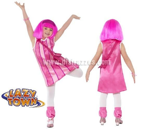 Disfraz de Stephanie de Lazy Town para niñas de 4 a 6 años. Incluye vestido, bolso y calentadores. Peluca, medias y zapatos NO incluidos. La peluca y las medias la podrás ver la sección de Complementos. Con éste disfraz harás muy buena pareja con Sportacus.