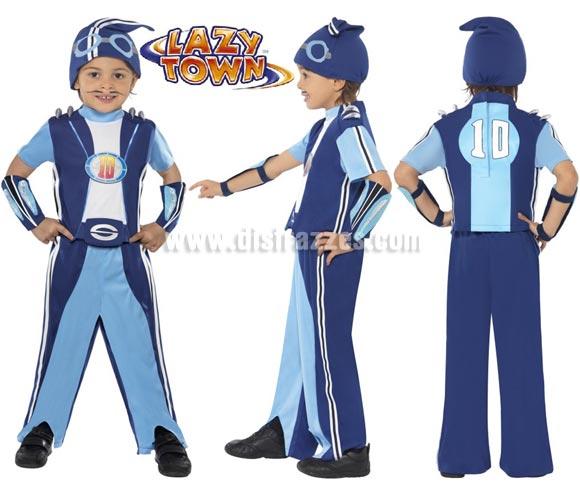 Disfraz de Sportacus de Lazy Town para niños de 7 a 9 años. Original y Genuino de la exitosa serie de televisión Lazy Town. Incluye pantalones, top o camiseta corta, puños de los brazos y gorro.