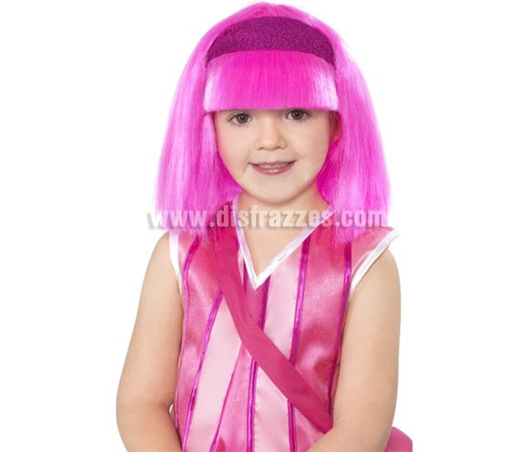 Peluca de Lazy Town Stephanie rosa infantil con diadema.