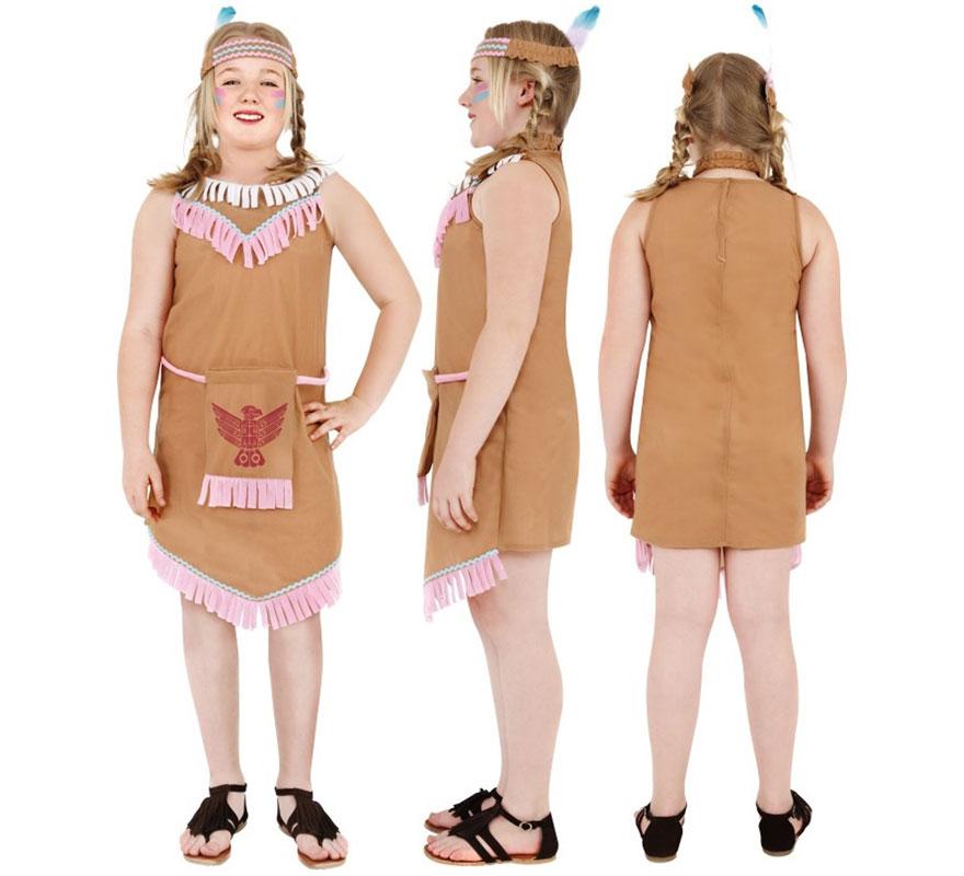 Disfraz de India para Niña de 4 a 6 años. Disfraz Único y de Alta Calidad que se compone de Vestido, Bolsa y Cinta. Completa tu disfraz con artículos de nuestra sección de accesorios como arco y flechas, peluca, collar, pulseras, maquillaje...