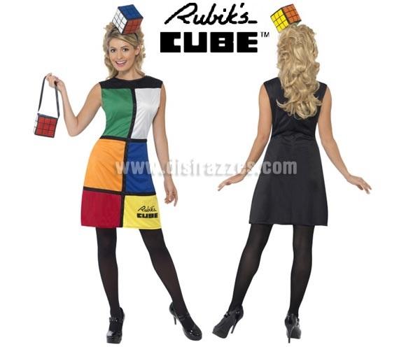 Disfraz de Cubo de Rubik's para mujer talla M. Incluye vestido, diadema y bolso.