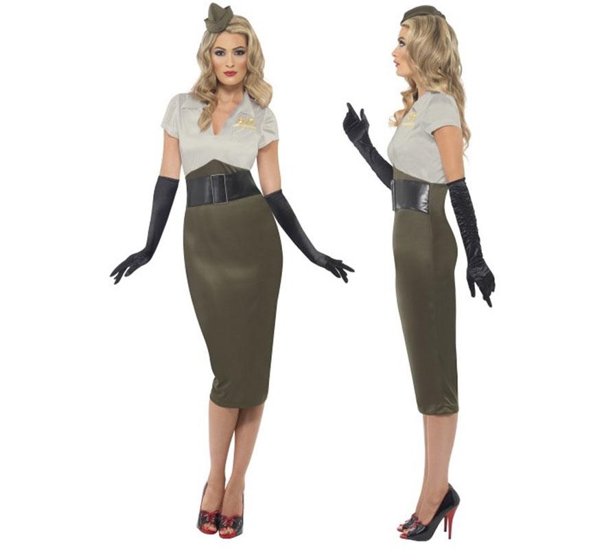 Disfraz de Pin Up Picante 2ª GM para Mujer talla L 44/46. Disfraz Único y de Alta Calidad de Mujer Soldado o Militar del ejército de la Segunda Guerra Mundial Años 40. Incluye Mini sombrero o tocado militar, no incluye Guantes ni Calzado.